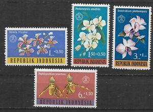 1962 Indonesia Complete Set of 4 Orchids Semi-Postal Stamps, MNH/OG, SC #B146-49