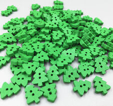 100X Christmas Wooden Buttons Fit Sewing Scrapbooking Mini Christmas tree 13mm