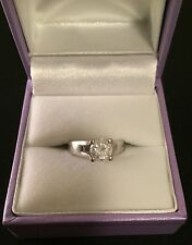 Engagement Ring white gold solitaire upswept diamond 0.81ct clarity size H 1/2