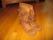 Girls Mudd Caramel Brown Faux Suede Fringed Moccasin Boots Size 5 Medium