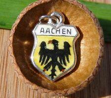 VINTAGE 835 SILVER enamel AACHEN Germany shield CHARM (C-268)