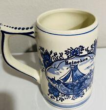 Heineken Delft Blue Holland Windmill Hand Painted Beer Mug Collectible