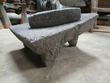 Antique Metate #16-Grinder-Rustic-Complete-Old Mexican--Primitive-12x15x9