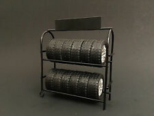 METAL TIRE RACK W/RIMS AND TIRES FOR 1:24 CAR MODELS BY AMERICAN DIORAMA 77530