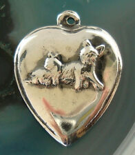 Heart 2 Kitty Cat Bracelet Charm Rare Vintage Antique Sterling Silver Puffy