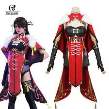 Genshin Impact Beidou Cosplay Costume Women Black Red Halloween Dress Cloak Suit