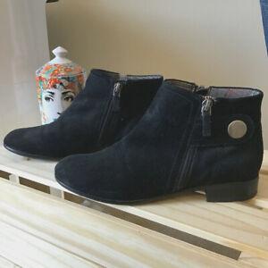 Franco Sarto Genuine Suede-Leather Black Ankle Boots / Size AU 6 / UK 4 / EU 37