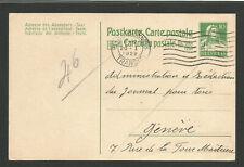 Suisse entier postal effigie de Guillaume Tell 1922 oblit. Lausanne /TR1468
