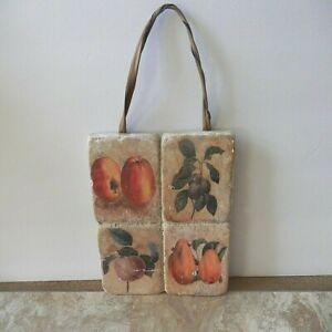 Vintage Plaque Pierre-Joseph Redoute - Hanging Tile Plaque with Fruit Decoration
