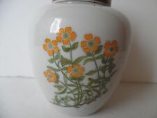 Takahashi Stoneware Counterpoint Ginger Jar Orange Floral