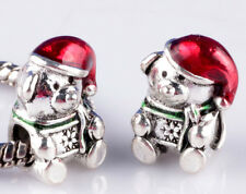 2pcs Painted Bear Christmas big hole Beads Fit European Charm Bracelet A#888