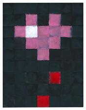 Original JUSTIN AERNI dirty pixels art minimal abstract : BLEEDING HEART