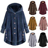 Winter Womens Warm Fluffy Coat Overcoat Button Jacket Tops Outwear Loose Sweater