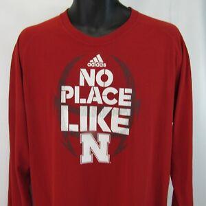 No Place Like Nebraska University Long Sleeve T-Shirt XL Red Cornhuskers Adidas