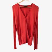 Dorothy Perkins Women's Orange Wrap Blouse Top Size 12 Long Sleeve V-Neck