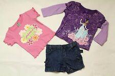 Disney Carter Baby Girls 18M Lot 3 Pieces T Shirt Pink Purple Glory Denim Shorts