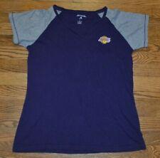 Womens Los Angeles Lakers LA Sporty V Neck Sewn Logo Raglan T Shirt Large NBA