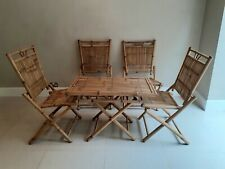 More details for mid century bamboo and rattan italian folding table and four chairs, 1960s