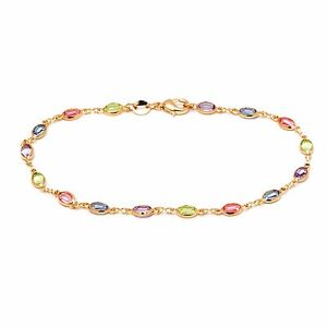 9CT Gold  Multi-colored Crystal Link Anklet  B39