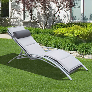 Outdoor Chaise Lounge Chair Adjustable w/ Cushion and Pillow