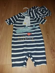 M&S Baby Boy Age 6-9 Months Blue Stripe UV Sun/Swimming Suit & Hat Fish/Shark