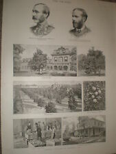 Orange growing culture in Florida USA 1886 old prints ref BW