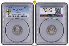 M5436 Rare 1/4 Franc Charles X 1829 A Paris PCGS MS63 Argent Silver SPL