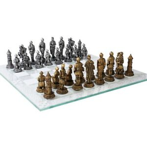Medieval Knight Chess Set with Glass Board New