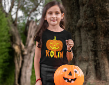 Pumpkin Personalized Halloween Shirt - Kids Pumpkin TShirt - girl boy Tee