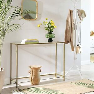 Glass Console Table Modern Gold Shelving Unit Side Metal Hallway Display Stylish