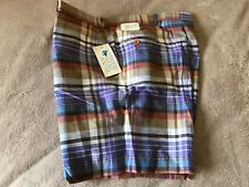 Nwt Vintage Mens Spinnaker Sport For Him Multi Color Plaid Poly/Cotton Shorts 38