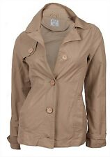 'Seven Hill' Ladies Womens Lightweight Camel Wood Effect Buttons Summer Mac