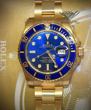 Rolex Submariner NEW 18k Yellow Gold Blue Ceramic 40mm Watch Box/Papers 116618LB