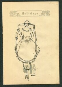 ca.1920 Antique Original Pen & Ink Drawing of Fashionable Young Lady