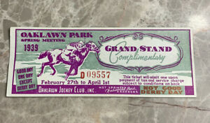 Oaklawn Park Jockey Club 1939 Grand Stand Ticket Hot Springs Arkansas