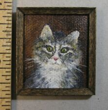 "1:12 scale Miniature Painting ""Kitty"" OOAK Artist made LesBonArts"