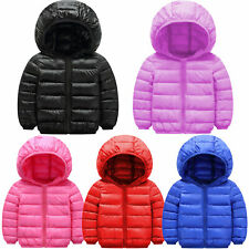 Kids Jacket Long Sleeve Zip Up Quilted Padded Puffer Bubble Warm Hooded Coat Top