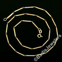"""Italian Vintage Solid 14k Rosy Yellow Gold 15.5"""" 10mm Bar Link Chain Necklace"""