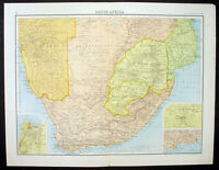 1890 Bartholomew Large Antique Map of Southern Africa