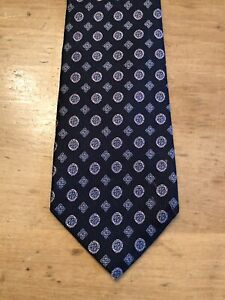 Land's End Men's Tie Blue & Yellow Geometric Floral Design 100% Silk