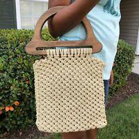 Vintage Woven Macrame/Crochet Bag w/ Wooden Handle