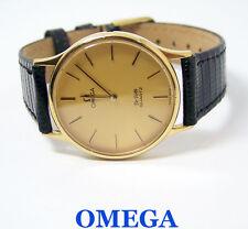 Gold OMEGA DeVille Mens QUARTZ Watch Date c.1980s 1365*  EXLNT