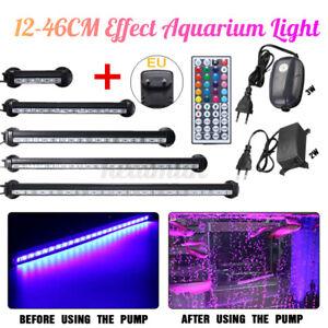 LED Submersible Aquarium Light Fish Tank Lighting Lamp + Oxygen Air Pump 2 f Q