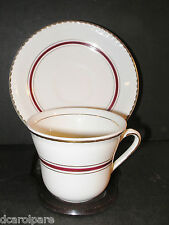 Ridgways China Cup &Saucer Portland Pottery Maroon Band Gold Gadroon Rim 1950+