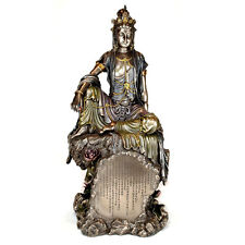 "KWAN YIN HEART SUTRA STATUE 15.5"" Large Goddess HIGH QUALITY Water Moon Bronze"