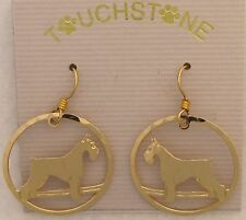Giant Schnauzer Jewelry Gold Dangle Earrings by Touchstone