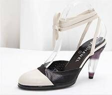 CHANEL Womens Black+White Leather Ankle-Strap Cone High-Heel Mule Pumps 9-39