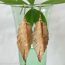 Metal Mesh Leaves 18K GP Clear Crystal Hook Dangle Drop Earrings BH1081