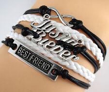 "Justin bieber ""8"" Best friend silver Infinity Braided Leather black Bracelet"