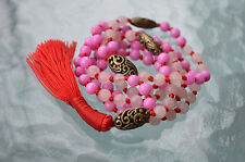 Rose Quartz Mala beads 6mm 108 Hand Knotted Prayer Necklace Japa Mala Necklace